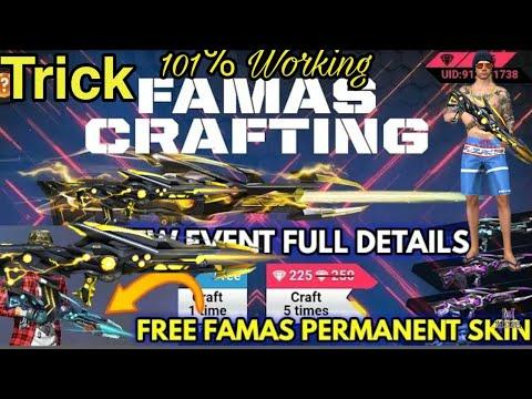 How To Get Free New Famas Gun Skin In Free Fire Black Widow Golden Gun Skin 101working Trick