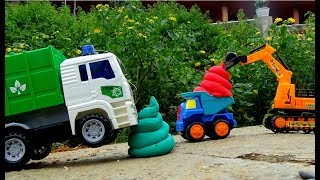 Excavator Garbage Truck Backhoe Clean The City - Car Toys For Children - Song For Kids