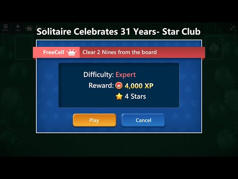 Solitaire Celebrates 31 Years | Star Club | FreeCell #27 Expert - Clear 2 Nines from the board