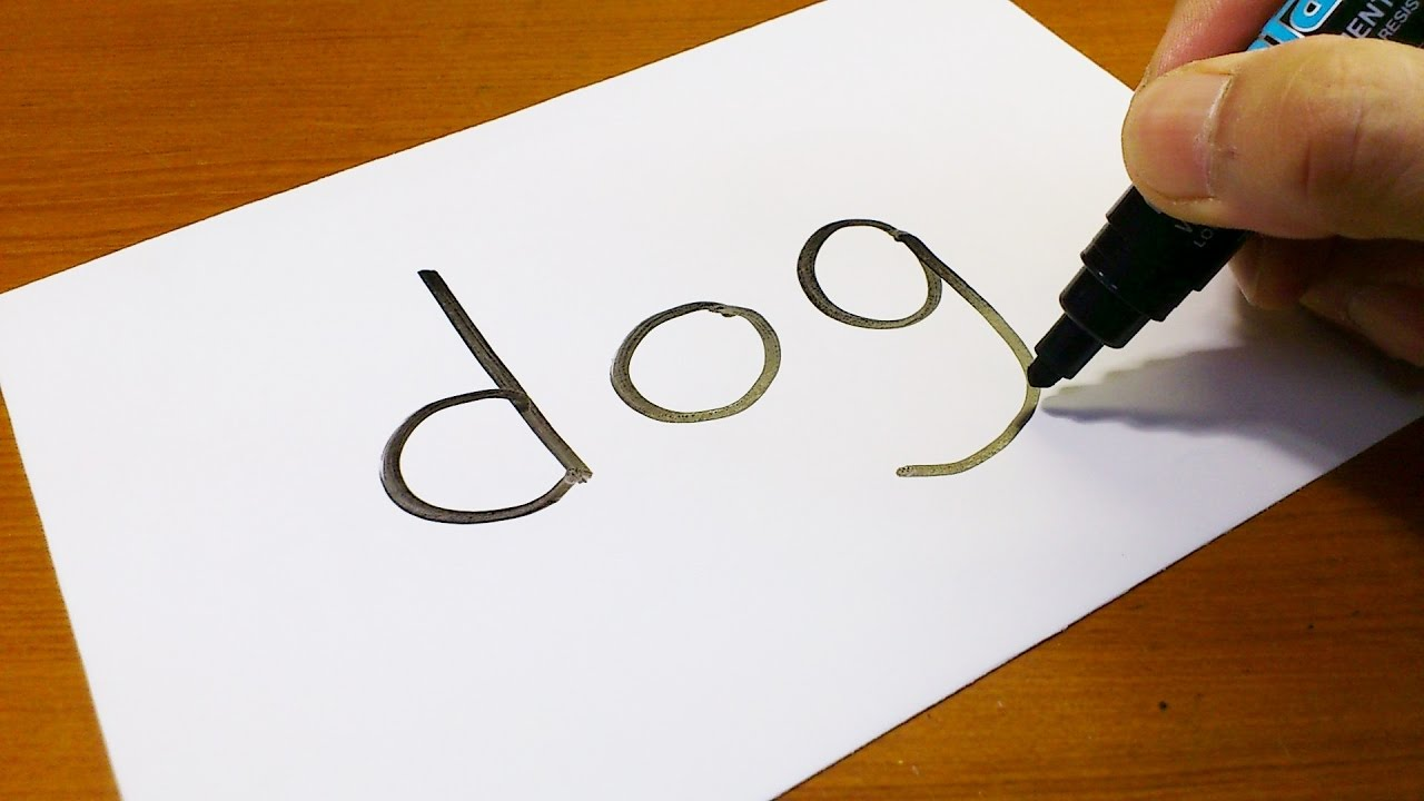 Very Easy ! How to turn words DOG into a Cartoon - art on paper