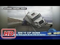 accident : Semi Truck Gets Blown Off The Highway By Strong Wind And Slamms Patrol Vehicle