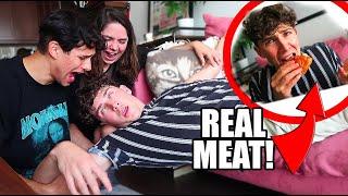 VEGAN EATS MEAT PRANK on BOYFRIEND *PASSES OUT*