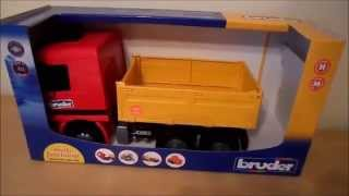 German Made Bruder Toy Man Flat Bed Recycling Garbage Truck