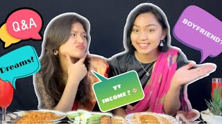 QnA Wearing SAREE🥻👭+ MUKBANG 🤤 @Rashu Shrestha | Are we Single ?