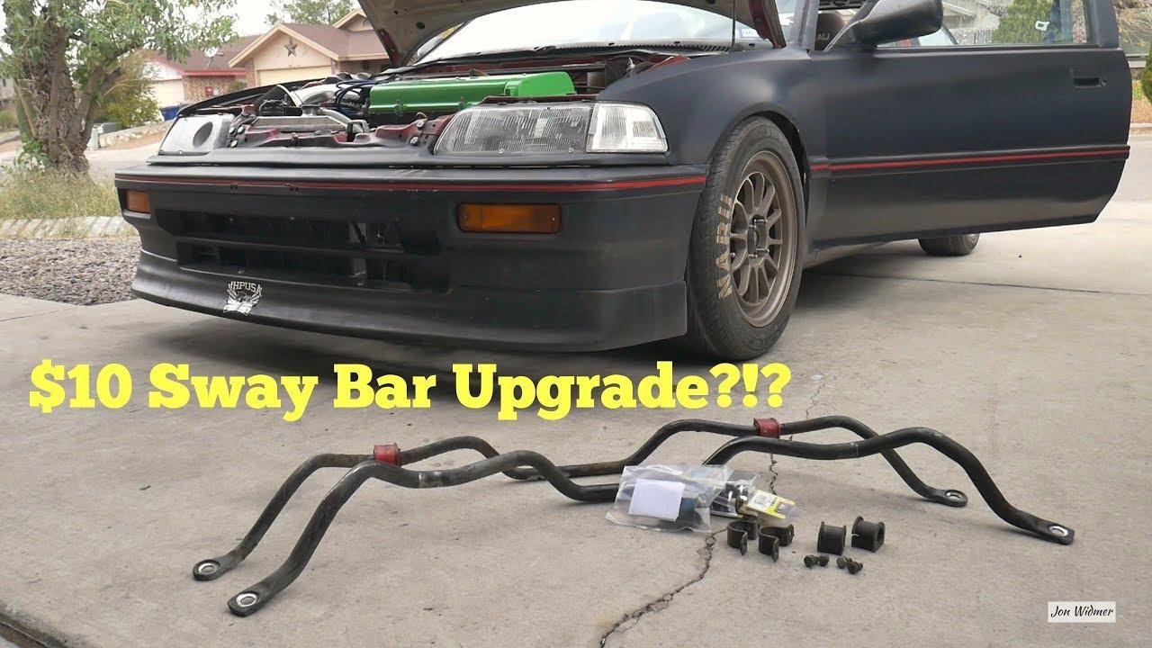 medium resolution of 88 91 crx civic front sway bar install 23mm energy suspension bushings