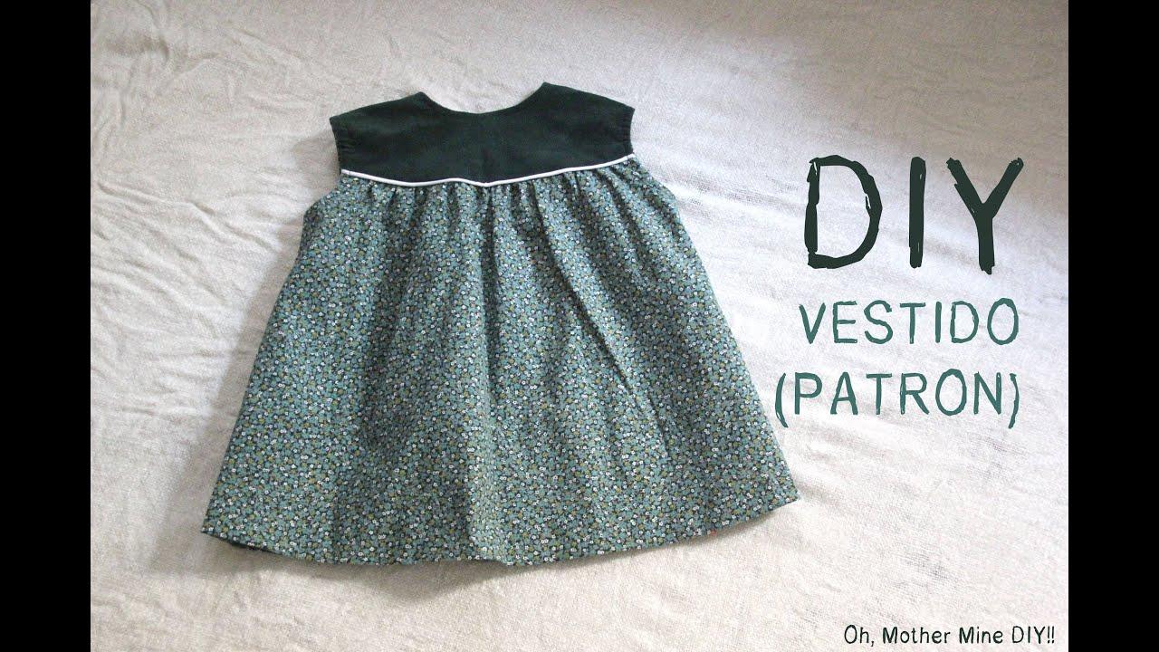 cefa21f94 DIY Como hacer vestido de niña patrones incluidos talla 6 meses - 6 años