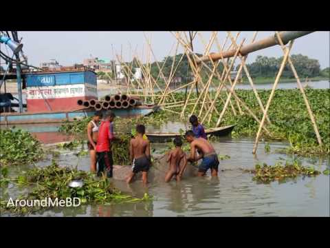 Net Trapping Fishing | How to trap fish using big net | Traditional Bangladeshi Fishing