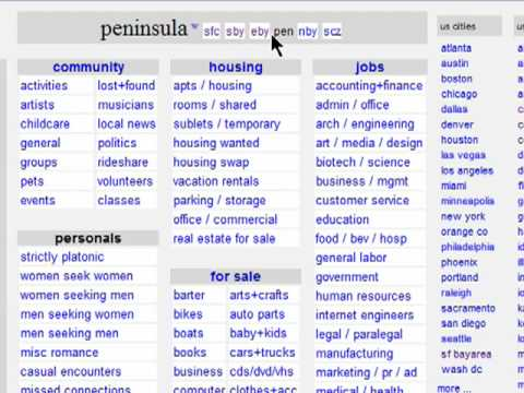 Searching your city on Craigslist