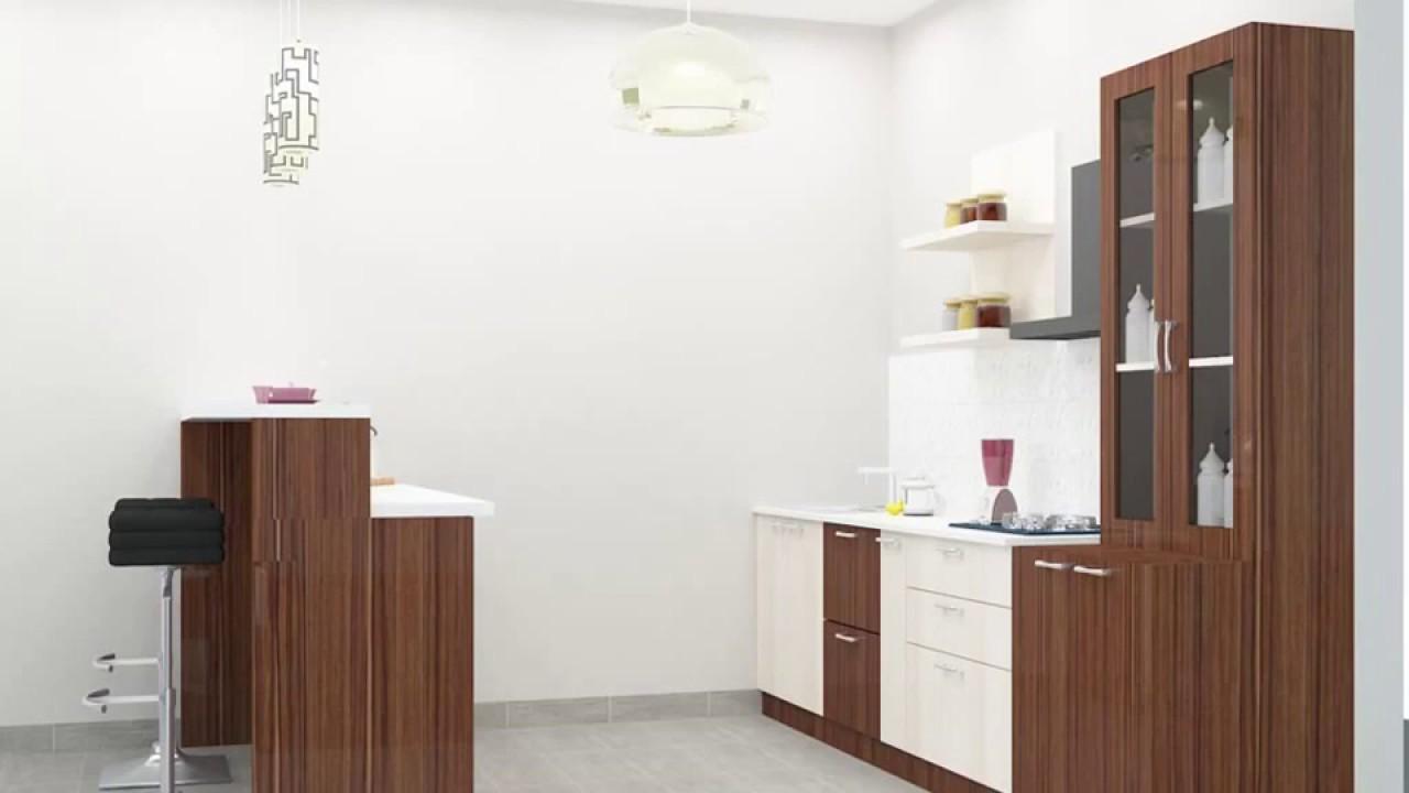 Straight modular kitchen designs by scale inch youtube for Modular kitchen designs youtube