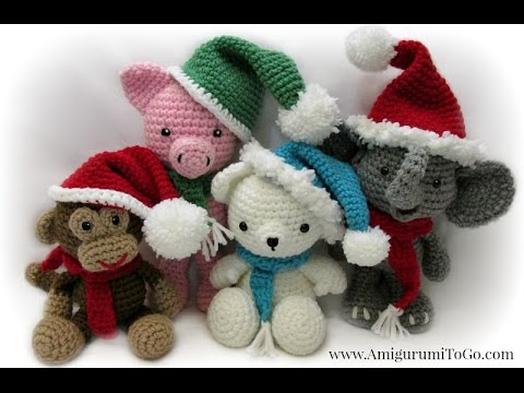 Amigurumi Christmas : Christmas hat scarf for amigurumi youtube