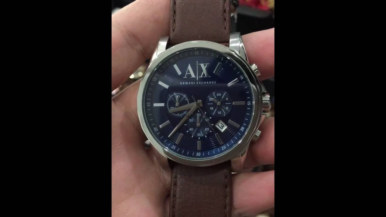 Armani Exchange Men s AX2501 Stainless Steel Blue Dial Watch With Brown  Leather Band 72251bb1a5ebc