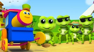 bob kereta | lima kodok kecil berbintik | lagu anak-anak | Kids Song | Five Little Speckled Frogs