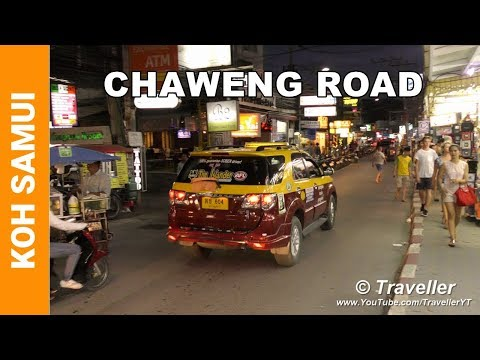 Chaweng Beach Road at Night – Nightlife in Chaweng Road Koh Samui Thailand – Ko Samui attractions