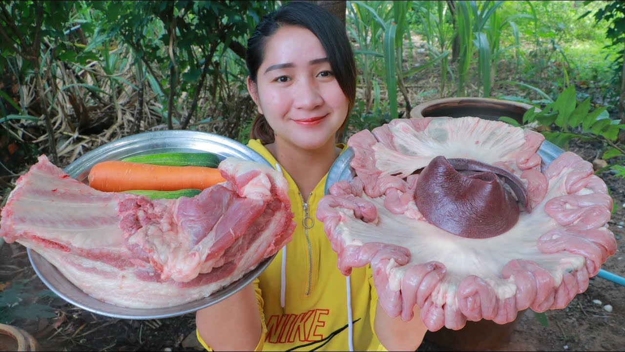 Yummy Pork Spleen Cooking Noodle - Pork Spleen Recipe - Cooking With Sros