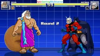 Batman And Ant-Man VS Zeus The God Of Thunder & Annoying Orange In A MUGEN Match / Battle / Fight
