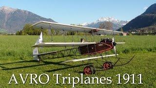 RC AVRO Triplane 1911, First flight! AVRO = Alliott Verdon Roe = De...