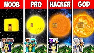 Minecraft Noob Vs Pro Vs Hacker Vs God  Family Block Sun House In Minecraft  Animation