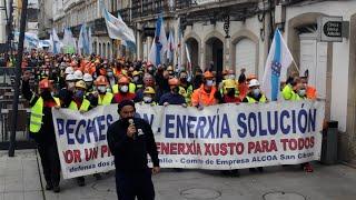 Multitudinaria protesta de trabajadores de la planta de Alcoa San Cibrao en Lugo