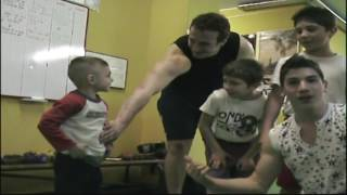 on the boxing gym ,Giuliano 4 years old Claudio 2 years old
