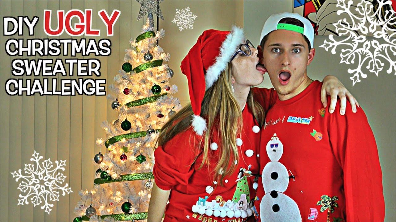 EPIC DIY UGLY CHRISTMAS SWEATER CHALLENGE! (Boyfriend vs Girlfriend ...