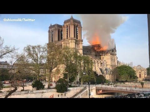 BREAKING: Fire burning at Notre Dame Cathedral in Paris