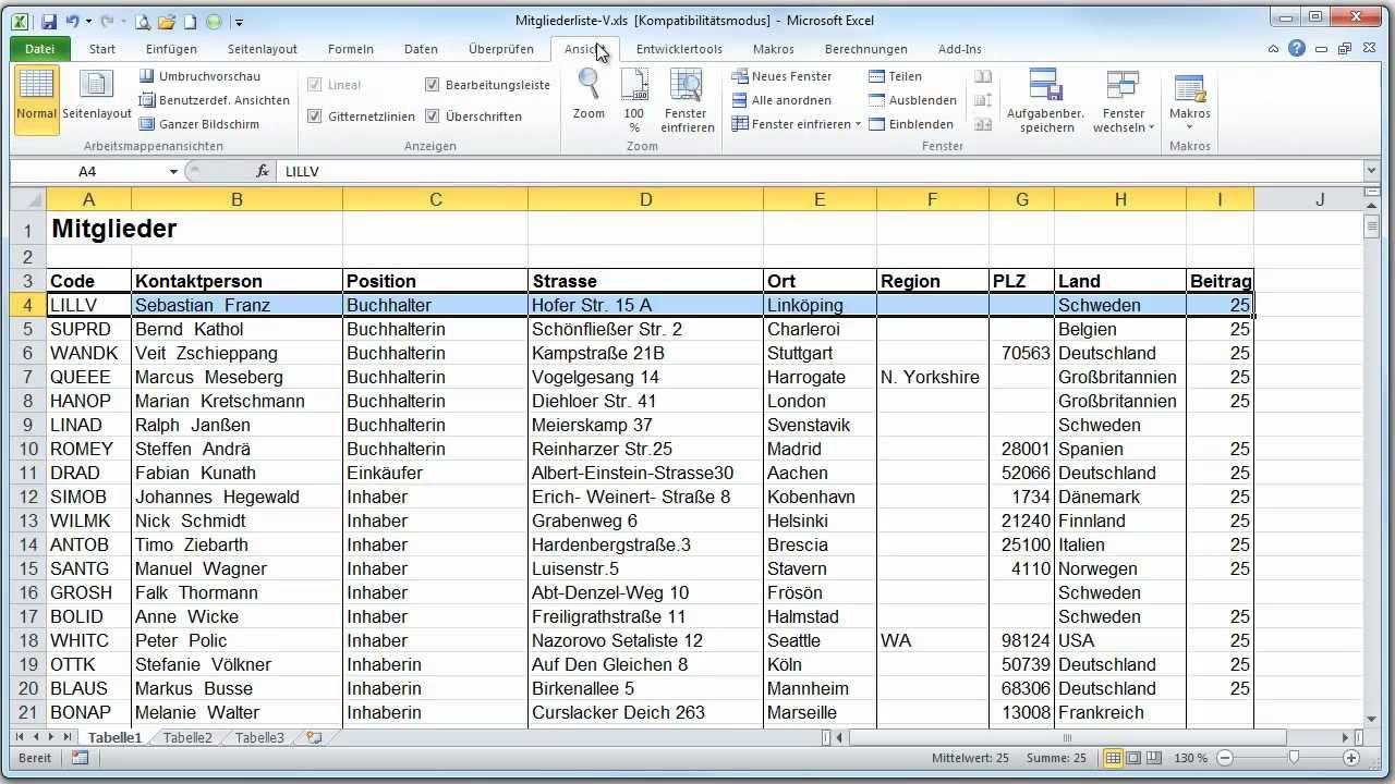 Excel 2010 tabellenkopf fixieren videoanleitung von for Xls fenster fixieren