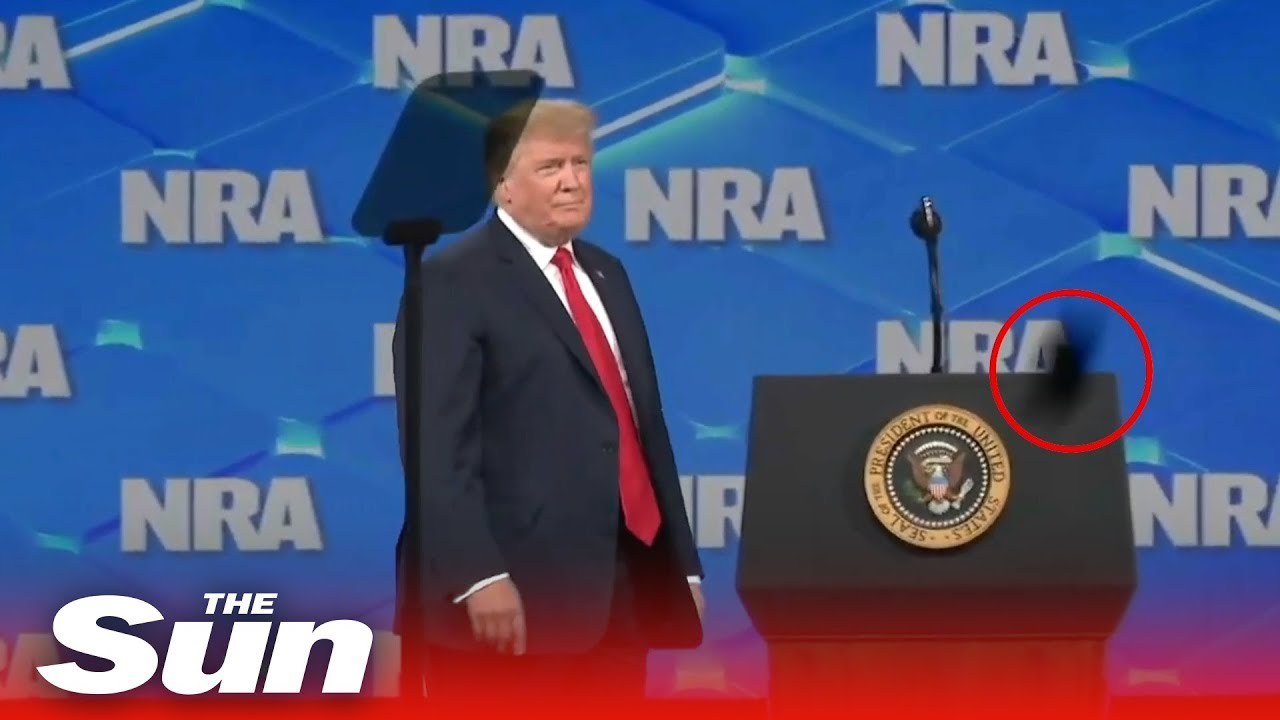 Mobile phone thrown at Donald Trump at the NRA Convention