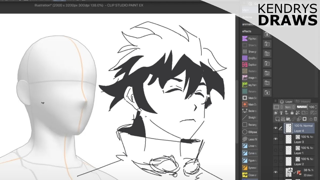 Drawing with 3D models demo- clip studio paint