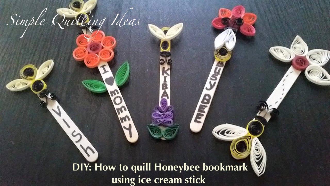 Art And Craft Diy Quilling Honeybee Bookmark Using Icecream Stick
