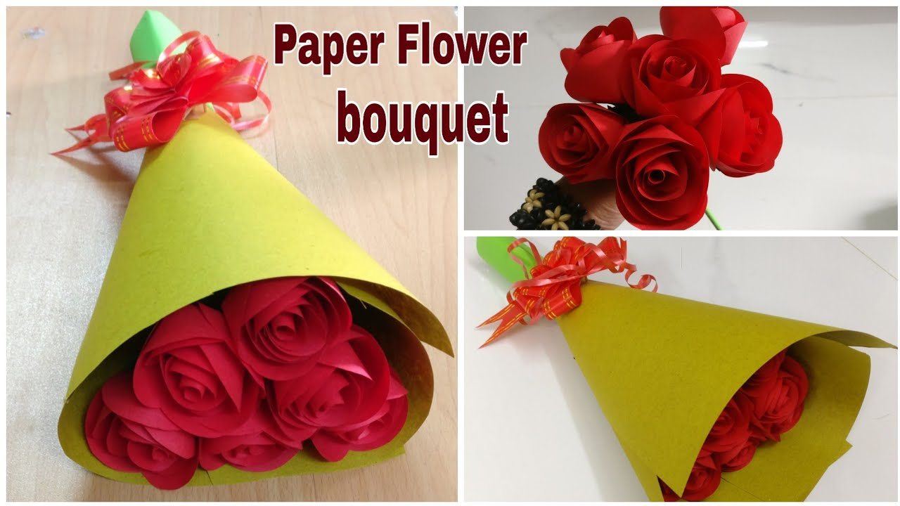 how to make paper rose flower bouquet