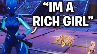 RICH GIRL scammer loses modded GUNS!! 😂(Scammer Get Scammed) Fortnite Save The World