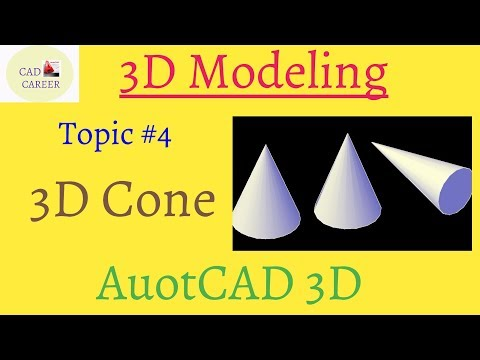 Autocad 3d modeling Cone command | create 3D cone in Autocad | using 3D cone in Autocad