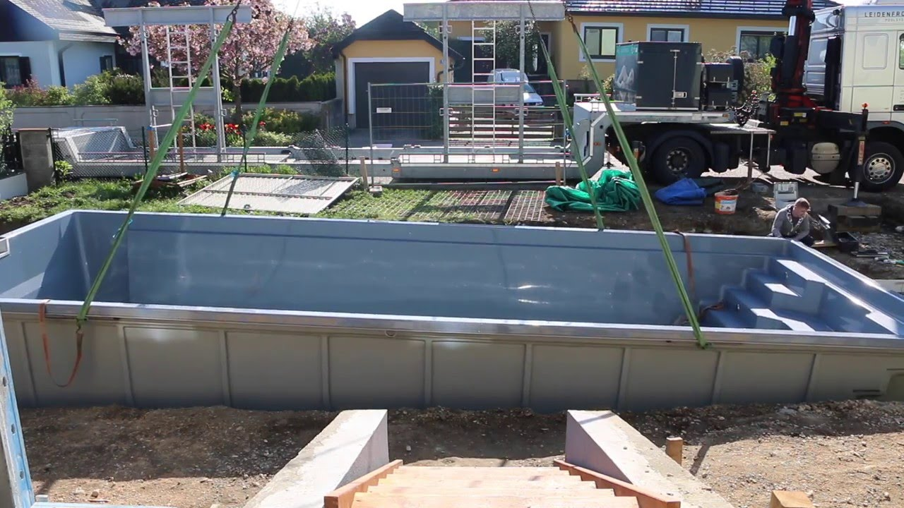Pool lieferung und einbau youtube - Pool rechteckig einbau ...