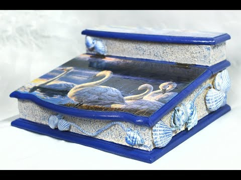 Decoupage box with rice paper and sea shells-DIY
