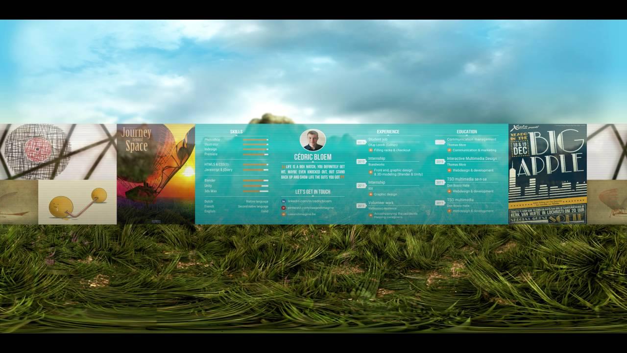 360 virtual reality curriculum vitae  cv  of cedric bloem