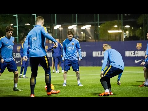FC Barcelona - Leo Messi, Rakitic and Ter Stegen in training