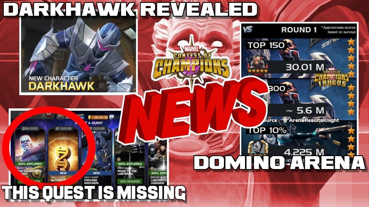 Quest is Missing, Darkhawk Specials Revealed, Domino Arena +