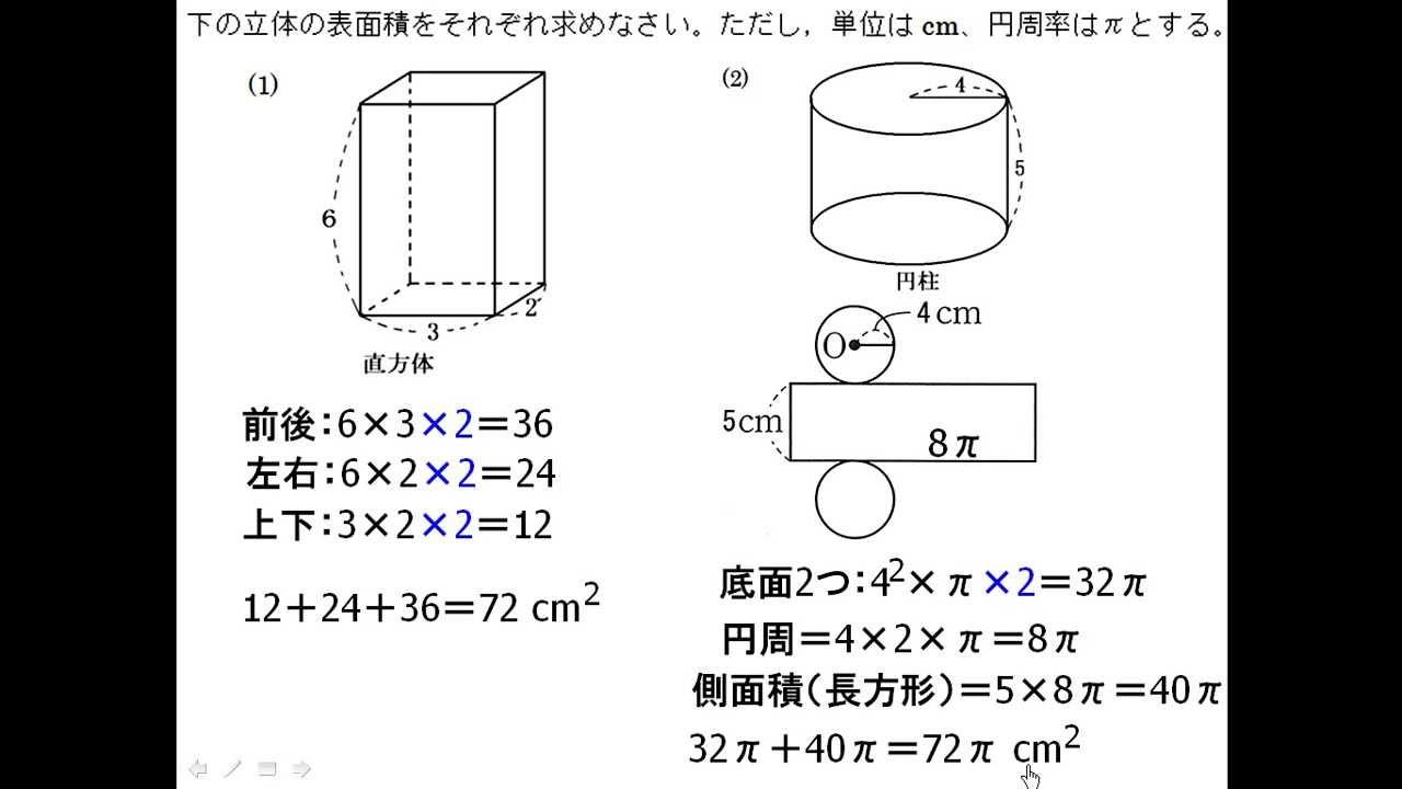 ... 角柱・円柱の表面積 - YouTube : 円柱の体積の公式 : すべての講義
