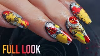 Salon Speed Full Look  - Transfer Foil Nail Art  - Matte and Holographic