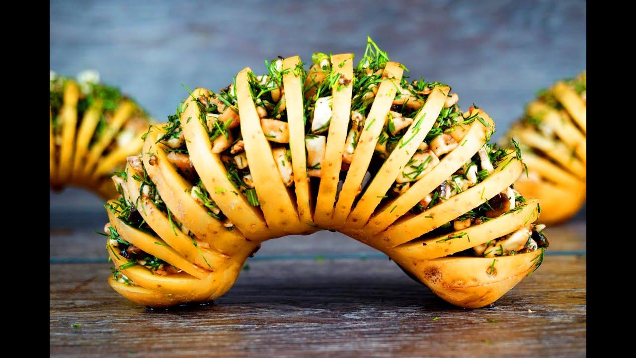 картошка-гармошка в духовке с сыром