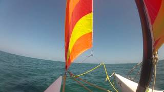 GoPro Sailing a Hobie Cat Catamaran off the Beach at Iberostar Laguna Azul Varadero Cuba