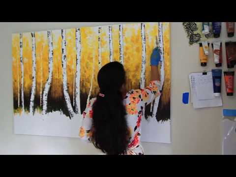 Birch Tree / Palette Knife Painting- Speed Painting By Nikki