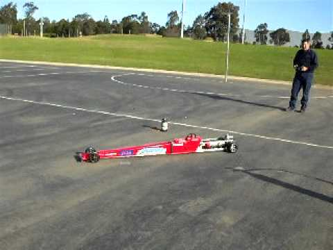 1/4 scale jet dragster launch test.