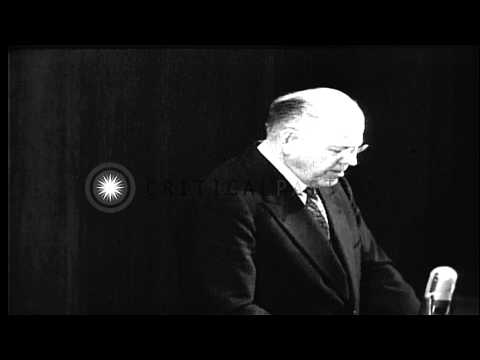 Warren R. Austin, US representative to the UN Security Council, speaks to UN Gene...HD Stock Footage