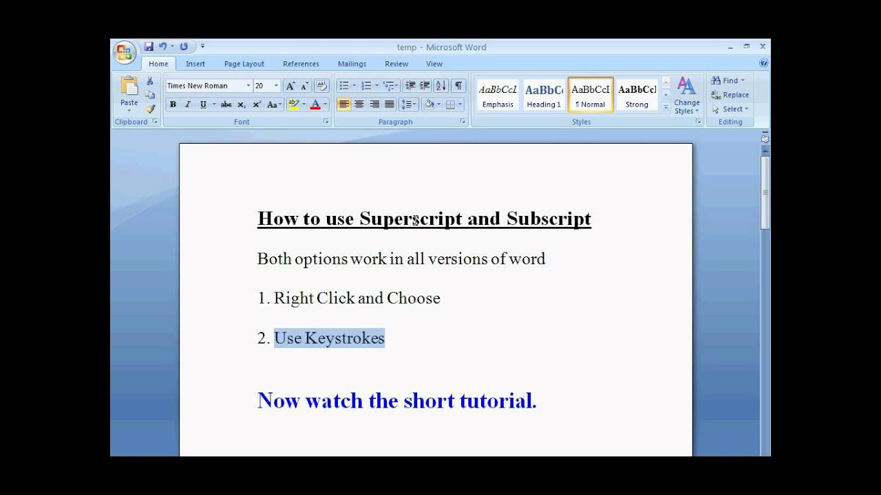 How To Superscript And Subscript In Word Simple Youtube