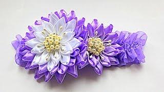 Flor kanzashi e faixa para cabelo