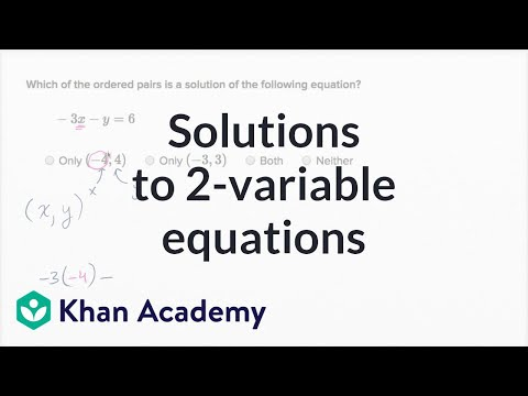 Checking Ordered Pair Solutions To Equations Example 1 | Algebra I | Khan Academy