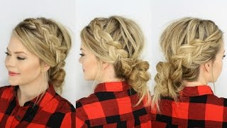 Two Dutch Braids & Low Messy Bun