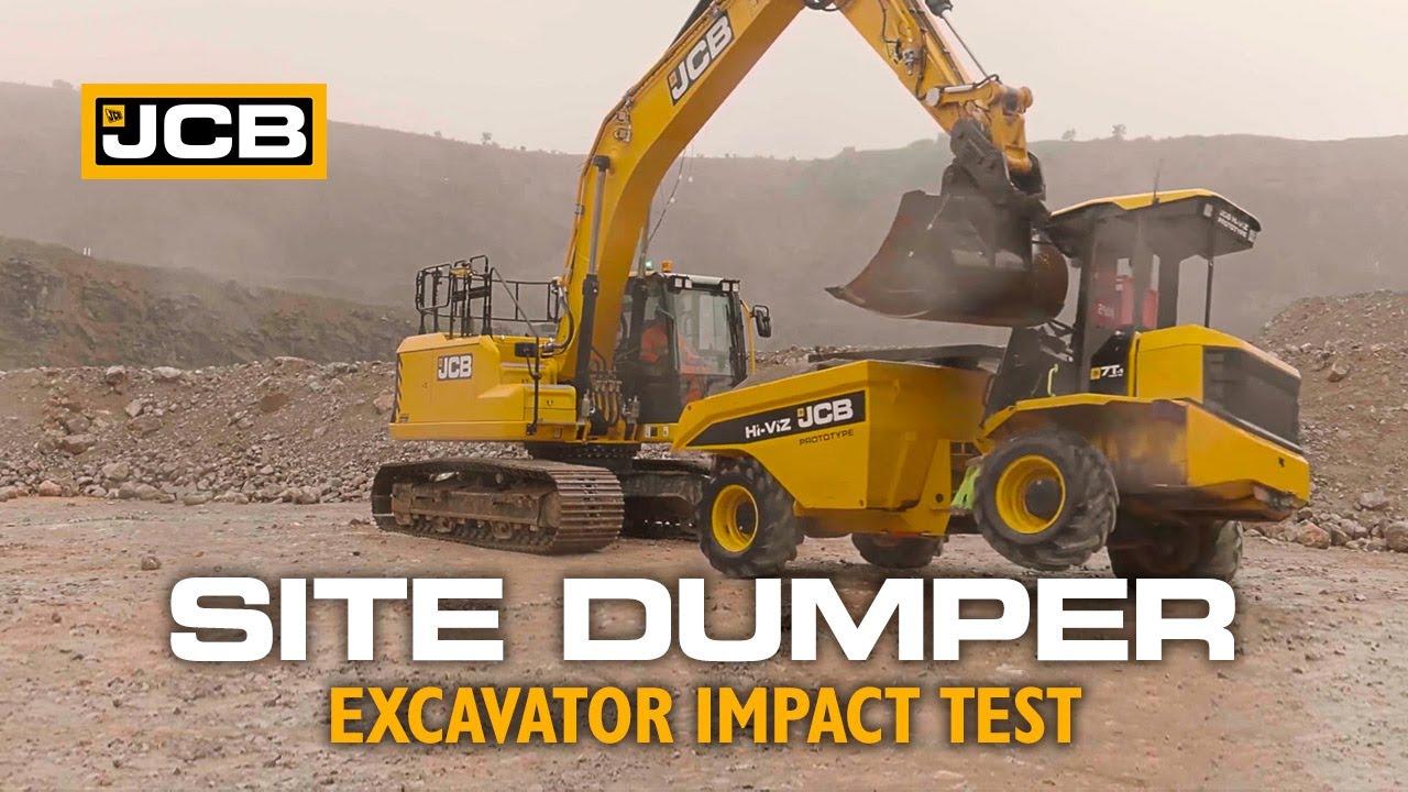 JCB Site Dumper SiTESAFE Cab Side Impact (SIPS) Testing with 20-Tonne Excavator