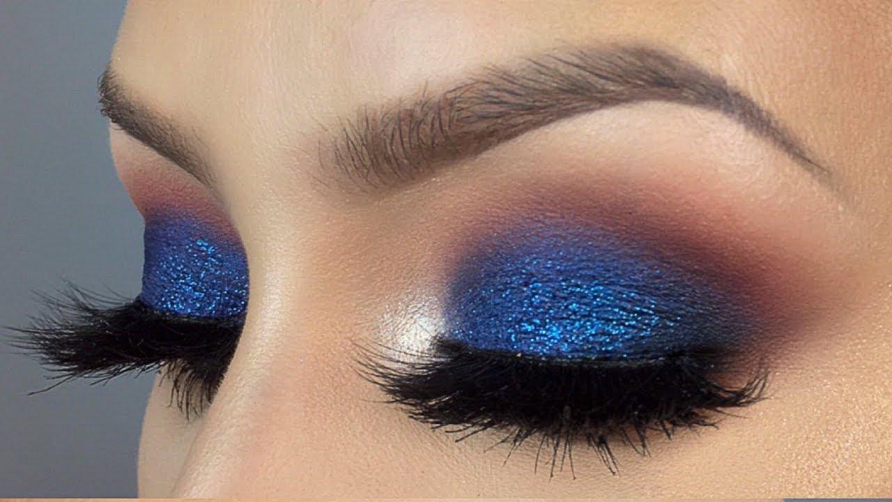 blue glitter smokey eye makeup tutorial